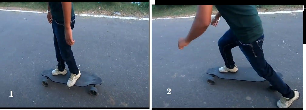 How to roll on a skateboard with two foots
