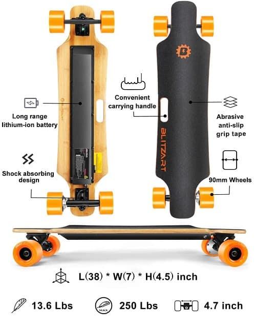 Blitzart 38 Hurricane Electric Longboard Electronic Skateboard