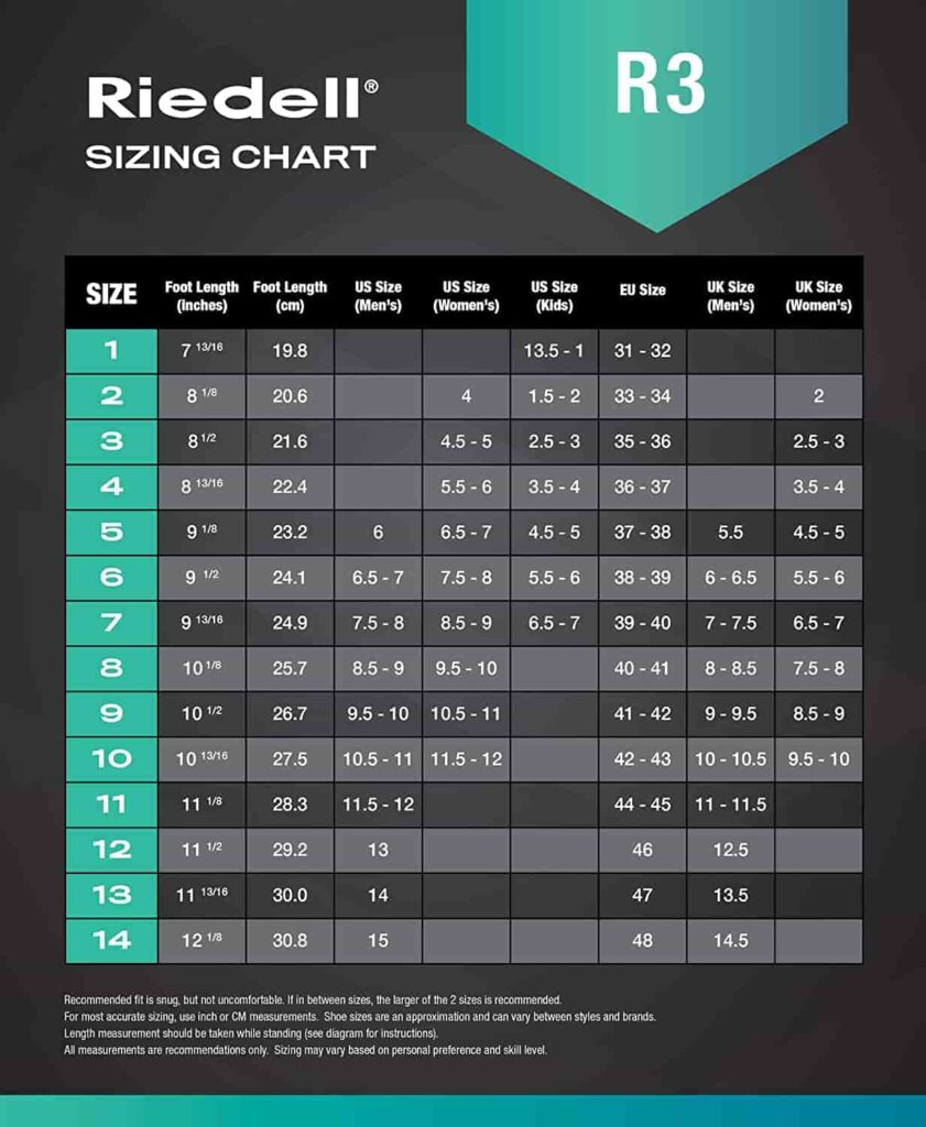 Riedell R3 sizing chart